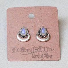 Teardrop Crescent Rainbow Moonstone Earrings – donbiujewelry