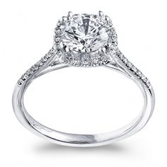 A delicate cushion shaped diamond halo frames the center stone in this beautifully petite design. Engagement Ring, Coast Diamond. #LC5390