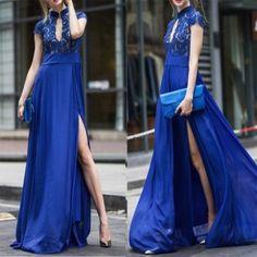 Blue Patchwork Lace Irregular High Neck Short Sleeve Maxi Dress