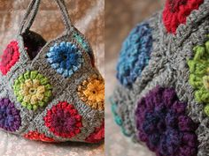 Granny square crochet bag                                                                                                                                                                                 Plus