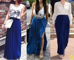 Look do Dia = Saia Longa Azul Klein + Blusa Branca ou Preta