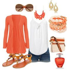 c502570d6a82 Cute coral summer outfit - the shorts just need to be a tinsey bit longer  LOL minus the cardigan would be so cute