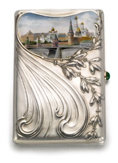 silver and pictorial enamel cigarette case, 4th Artel, Moscow, 1908-1917