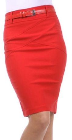 Sakkas 8831 Knee Length Stretch Pencil Skirt with Skinny Belt  Red  Medium >>> Details can be found by clicking on the image.