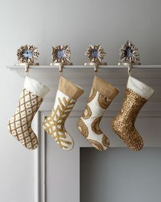 """-3Y0Y """"Champagne Frost"""" Embroidered Christmas Stockings"""