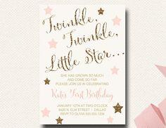Twinkle Twinkle Little Star Birthday Invitation by DesignOnPaper