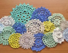 collection of hand dyed and natural white/ecru vintage doilies. small sizes for dream catchers and crafting! Perfect for DIY wedding decorations!