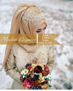 Muslim Elegance Bridal & Party Ready to wear thepurplesharepoi Disney Wedding Dresses, Muslim Brides, Wedding Hijab, Pakistani Wedding Dresses, Wedding Dress Styles, Wedding Girl, Wedding Ideas, Hijab Trends, Street Hijab Fashion