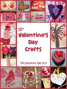 30+ Valentine's Day Crafts and Activities for Kids. Creative DIY Gift Ideas for little ones to make and share with someone special.