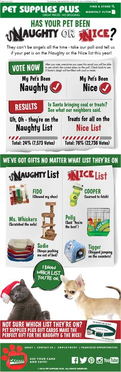 Pet Supplies Plus integrated a live poll into this email so that owners could vote if their pets were on Santa's naughty or nice list.