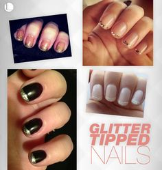 French manicure gets a twist with glitter tipped nails.