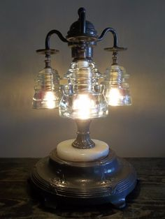 Vintage Telegraph Glass Insulator Table Lamp 3 Clear Glass Insulator Desk Light | eBay