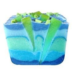 Blue lagoon soap made by Soap School students on the hybrid soap making course.