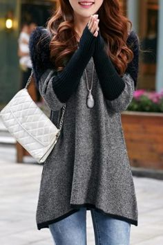 Stylish Scoop Neck Spliced Loose-Fitting Long Sleeve Women's Sweater