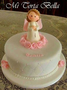 Torta Pretty Cakes, Beautiful Cakes, Fondant Cakes, Cupcake Cakes, First Holy Communion Cake, Religious Cakes, Confirmation Cakes, Angel Cake, Celebration Cakes