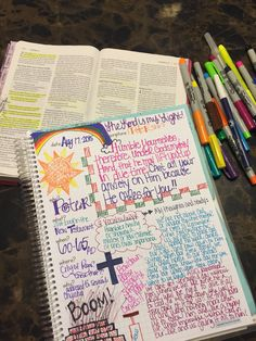 My scripture journaling! Sometimes I doodle, sometimes I don't. Sometimes my doodles/drawings match up with my studies, sometime they don't. Love my time with God!!