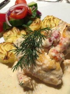Godaste fiskgratängen med mjukost och kräftstjärtar! – Alla goda ting Veggies, Lunch, Snacks, Chicken, Meat, Dinner, Healthy, Instant Pot, Tapas Food