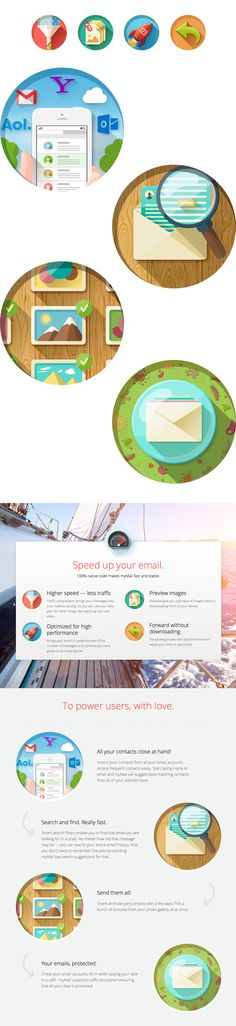 myMail: One app to manage all your email accounts. Email Design, App Design, Icon Design, Layout Design, Branding Design, Logo Design, Flat Design Illustration, Business Illustration, Graphic Illustration