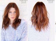 Red auburn hair. Mid length. Short hair. Color.