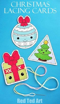 Printable Christmas Lacing Cards - how cute are these DIY Printable Lacing cards? Make use of the Colouring Pages or the fully coloured ones. Learn about shapes , circles, triangles and squares and get those fine motorskills going. Use as greeting cards, Preschool Christmas, Noel Christmas, Christmas Crafts For Kids, All Things Christmas, Christmas Themes, Xmas, Christmas Activities, Christmas Printables, Craft Activities