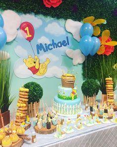 Adams Garden On Instagram Winnie The Pooh Theme At Adamsgardenla With Outdoor Space Happy 1st Birthday Michael Shermanoaksgalleria