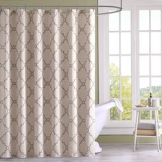 Refresh Your Bathroom With The Decorative Fretwork Shower Curtain. The  Scroll Geometric Print Is Simple
