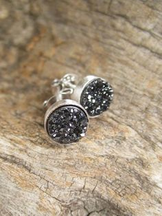 Tiny Black Druzy Studs Titanium Drusy Quartz by julianneblumlo