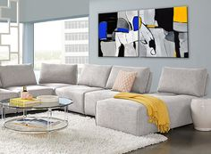 Original Handmade Abstract Modern Paintings on Canvas, Gallery Wrapped Wall Art Small Space Living, Living Room Modern, Living Rooms, Abstract Canvas Art, Canvas Art Prints, Big Canvas, Gold Wall Decor, Yellow Wall Art, Grey Home Decor