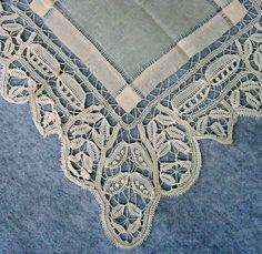 uses princess tapes in leaf shape Antique Lace, Vintage Lace, Victorian Lace, Antique Wedding Dresses, Bobbin Lace, Needle Lace, Wedding Handkerchief, Vintage Handkerchiefs, Lacemaking