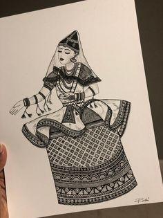 Doodle Art Drawing, Zentangle Drawings, Mandala Drawing, Dance Paintings, Indian Art Paintings, Abstract Pencil Drawings, Art Drawings Sketches, Zantangle Art, Dancing Drawings