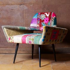 When I designed the Anzu Patchwork range of cards and Cosy candle, aside from being inspired by Indian chintzes, embroidered Chinese silks,. Funky Chairs, Vintage Chairs, Cool Chairs, Vintage Textiles, Funky Furniture, Vintage Furniture, Furniture Design, Office Furniture, Patchwork Chair