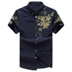 Mens Floral Printing Fashion Chinese Style Turn-down Collar Short Sleeve Big Size Shirts at Banggood