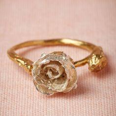 Silver rose bud ring