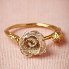 Silver rose bud ring