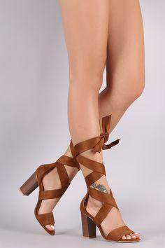 Suede Ribbon Wrap Open Toe Chunky Heel