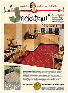 """Gold Seal Linoleum Ad, 1952 """"For an added feeling of spaciousness, why not purchase the wire pineapple, too?"""" """"From Sunset magazine. Vintage Advertisements, Vintage Ads, Vintage Houses, Big Design, House Design, Pineapple Illustration, Hot Tub Time Machine, Vintage Birthday Cards, Vintage Easter"""