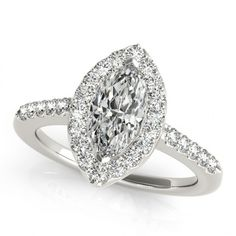 1.0 Carat Marquise Halo Engagement Ring in 14k White Gold (.35ctw) SI... ($929) ❤ liked on Polyvore