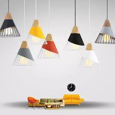 Lámparas de pendiente luces colgantes de madera y aluminio Barra de restaurante café comedor LED lámpara colgante Orb Pendant Light, Pendant Light Fixtures, Pendant Lighting, Pendant Lamps, Hanging Light Fixtures, Hanging Lights, Modern Wall Lights, Luminaire Design, Black Lamps