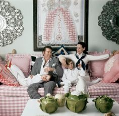 Anderson Cooper, Wyatt Cooper, Carter Cooper and Gloria Vanderbilt in their Manhattan apartment, June 1972.