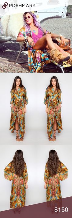 Tropicana Pennylane Kimono - California Fan Palm So glam!! This Japanese inspired kimono captures the elegance of Balinese batik silk prints and 70's poolside glam. Worn over your a bikini or one piece for daytime beach glam or paired with your favorite short tight dress and heels for uptown city style. Your girl Kate Hudson even has one!! ✨  The heavy weight of this micro silk allows for year round styling even in the cooler months. ✌🏼️🌴 100% SILK 🌴✌🏼️ Gypsy Soul Designs Jackets & Coats