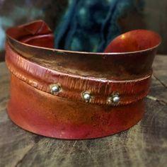 Boho Gypsy Fold-formed Silver and Copper Shibuichi Cuff