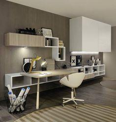aménagement-bureau-parquet-gris-chaise-blanc-lampe