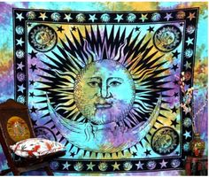 Beautiful throw/wall hanging tapestry hand made in india. The sheet measures 92 X 85 Inches. As these throws are hand made some designs may vary from the images shown. This reflects their hand made qu