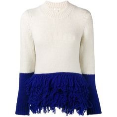 Delpozo loop knit colour block jumper (980 RON) ❤ liked on Polyvore featuring tops, sweaters, white jumper, knit jumper, knit jumper sweater, delpozo and block jumper
