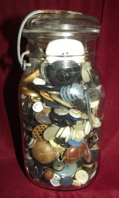 #Vintage #Buttons Mega Lot Assorted Sizes Colors #Shapes Stored in #Mason Jar & Lid