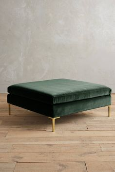 Boasting clean lines and neat proportions, these linen and velvet-upholstered ottoman re-imagines modern Italian design. Unique Living Room Furniture, Ottoman In Living Room, Shabby Chic Furniture, Cool Furniture, Furniture Design, Ottoman Decor, Upholstered Ottoman, Tufted Bench, Anthropologie Furniture