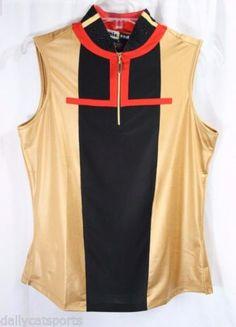 NWT-Jamie-Sadock-Sleeveless-Designer-Golf-Shirt-42213-Caramel-915-Red-Black-S