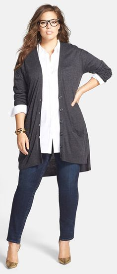 Long sleeves layered with Cardigan  Explore our amazing collection of plus size  suits at http://wholesaleplussize.clothing/