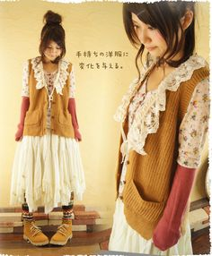 I want to enjoy the layered ribbons and lace and knit it in the coat knit in lace Girl's Best Inn in Forest [Rakuten market. Give a change in your clothes on hand. Cawaii shop Dress: Le - moth forest (not mail)