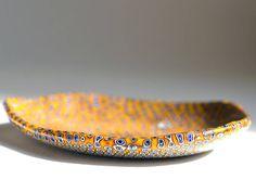 Terra di Siena - Butterscotch glass ring dish, unique murrini dish, collectible dish, sariyer